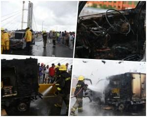 camioneta 300x240 Camionetica coge fuego sobre el puente de la 17