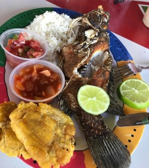 comida 2 300x338 Comida de las 12: Pescado frito con arroz, tostones, salsita y limón