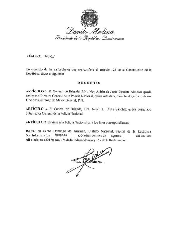 decreto1 Tituá! – 'Detutanan' al director de la Policía Nacional