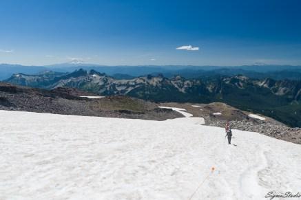 trail 虽然没有 paved,但是一路的小旗告诉大家没有偏离,远处的高山似乎跟我们差不多高度了,左手边的雪山就是 Mt. Adams,右手边更平的那座就是之前去的 Mt. St. Helens,中间略隐略显的是 Mt. Hood