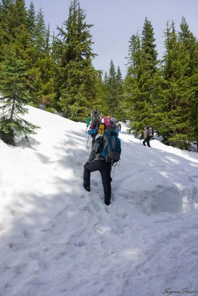 天气超级好,我们来去一路上看见很多这种重型装备的队伍到这里来进行登山的训练。