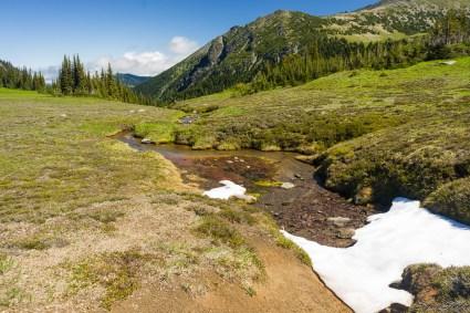 trail 边冰雪融化形成小溪