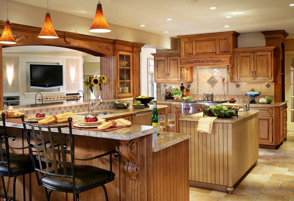 Современный дизайн кухни с барной стойкой