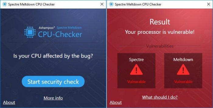 Spectre Meltdown CPU Checker — бесплатная утилита для проверки компьютера на предмет уязвимости Meltdown и Specter