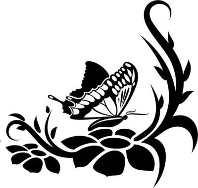 Распечатать готовые трафареты цветов и бабочек на стену