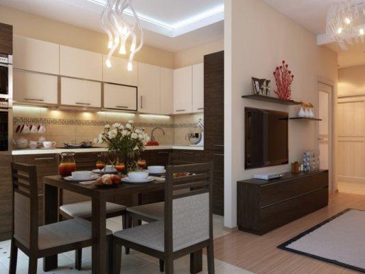 Дизайн кухни-гостиной-студии 20-25-30-40 кв м - фото - 5х5 м2