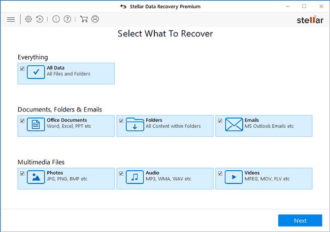 Выбор типов файлов для восстановления