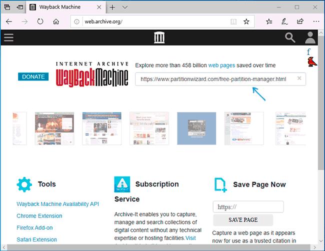 Веб архив Интернета Wayback Machine