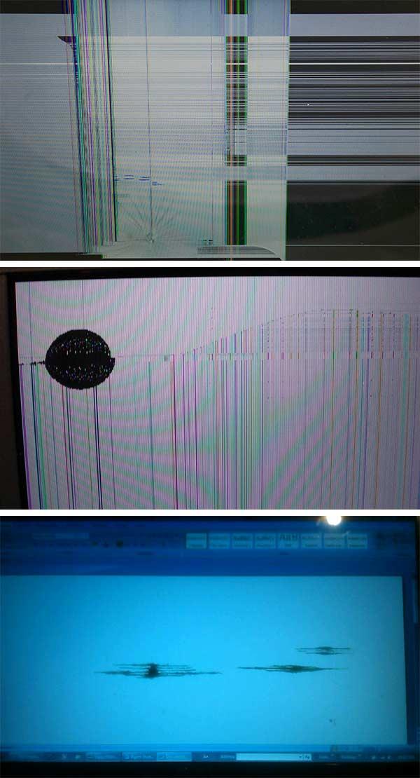 Линии из-за повреждения матрицы экрана ноутбука или монитора