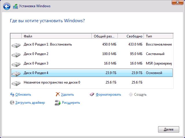 Системные разделы Windows 10 на GPT диске