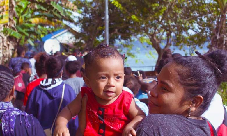 Local West Papuan at a parade celebrating New Years day