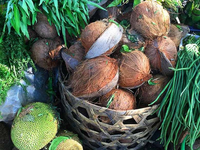 Coconuts and jackfruit fruit market in Ubud