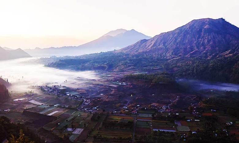 Pinggan Village view over Mount Batur in Bali