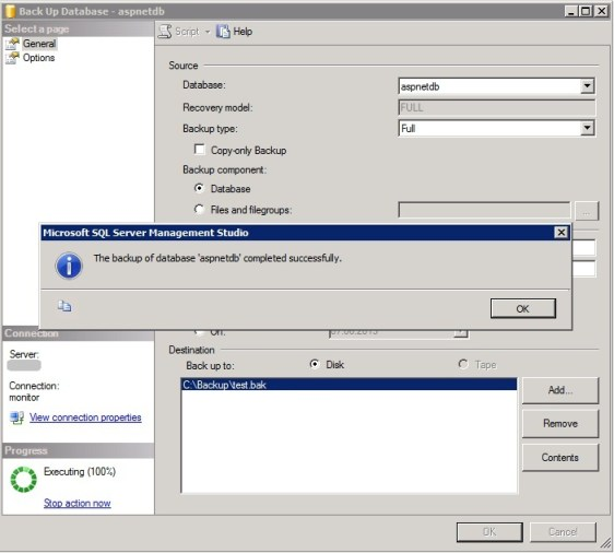 MS SQL Managment Studio - Back up Database_success