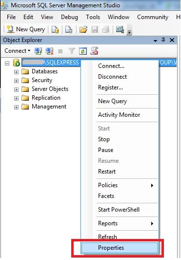 MS SQL server - Properties (свойства)