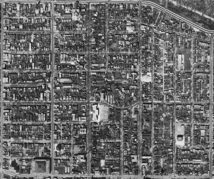 Aerial Photograph of Toronto's former 'St. James Ward' (St. Jamestown) including Wellesley Crescent & the Homewood Estate