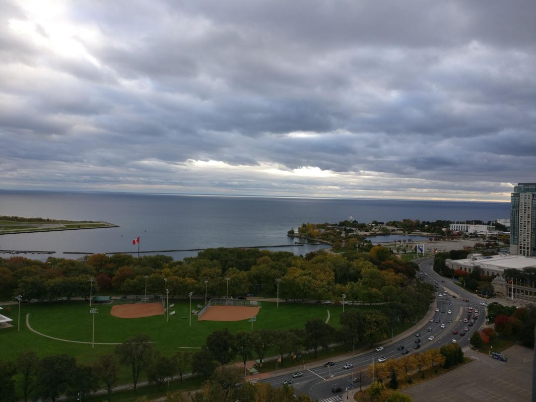 view of coronation park and ontario place from waterpark city