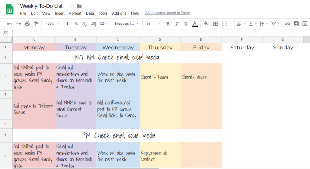 organization tips - to-do list