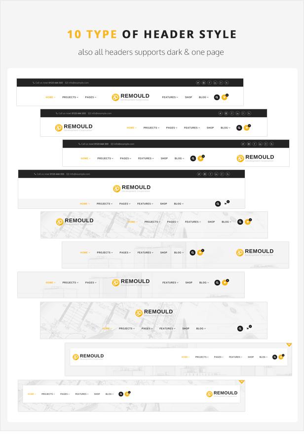 Remould WordPress Theme - Header Styles