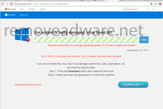 remove The system is badly damaged, virus found (4)!