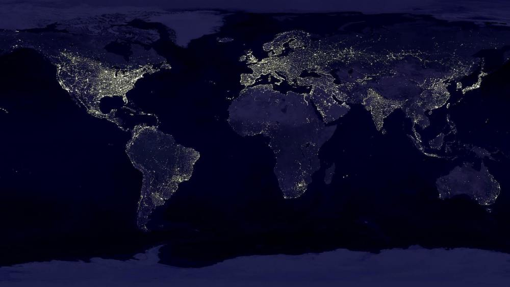 map of the world with city lights on