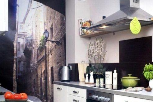 photo wallpaper for a narrow kitchen