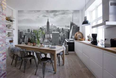 wallpaper in the interior of the kitchen