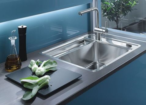 sink in the kitchen stainless steel