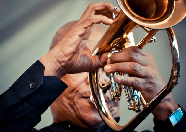 Hugh Masekela performing at the Kirstenbosch Summer Concert, Cape Town, South Africa.