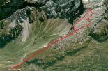 Die Route auf Google Earth dargestellt, recht aussen die ominöse Schlüsselstelle