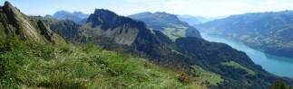 Gipfelpanorama vom Plättlispitz: hinten links der Alpstein, Bildmitte der Mattstock, rechts davon die Churfirsten und davor Amden, Walensee