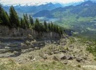 Das Bergsturzgebiet von oben, links der Bildmitte der Lauerzersee