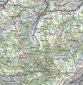Die Route Schönengrund-Schwägalp