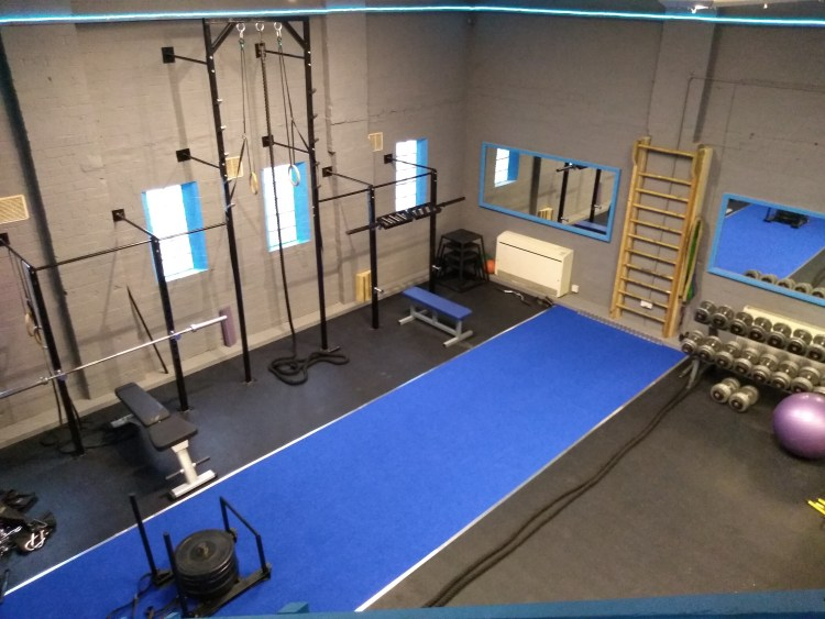 Ledbury gyms functional room, with a custom built ride, gymnastic rings and climbing rope.