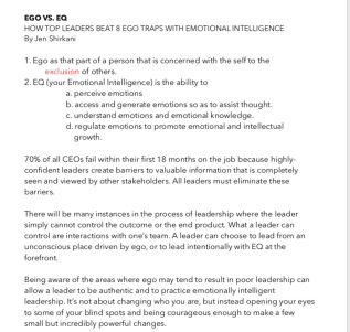 Ego vs EQ notes