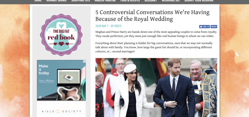 In the Press: The Big Fat Indian Wedding, SHEfinds, and AllSeated