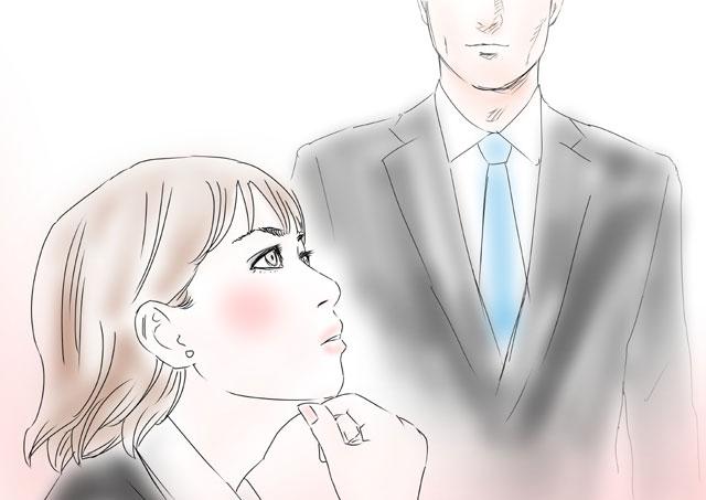 片思いする相手を思い描く女性