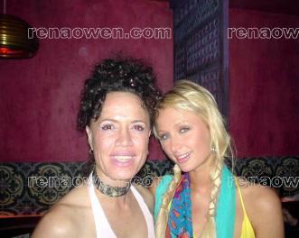 Rena and socialite Paris Hilton at Billy Zanes birthday party