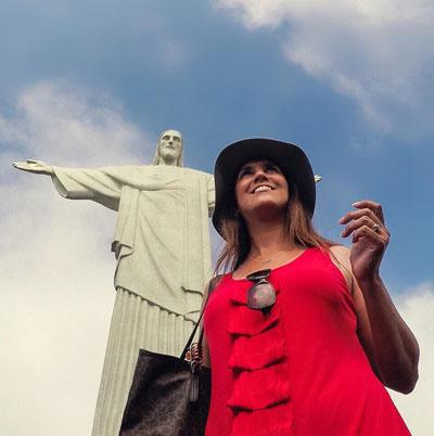 Blogueira Renata Pereira no Corcovado, Rio de Janeiro