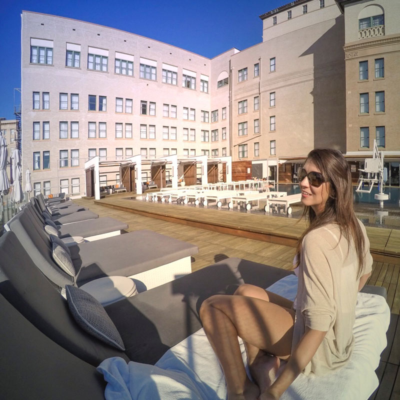 Renata Pereira in the rooftop pool, St Anthony Hotel, San Antonio