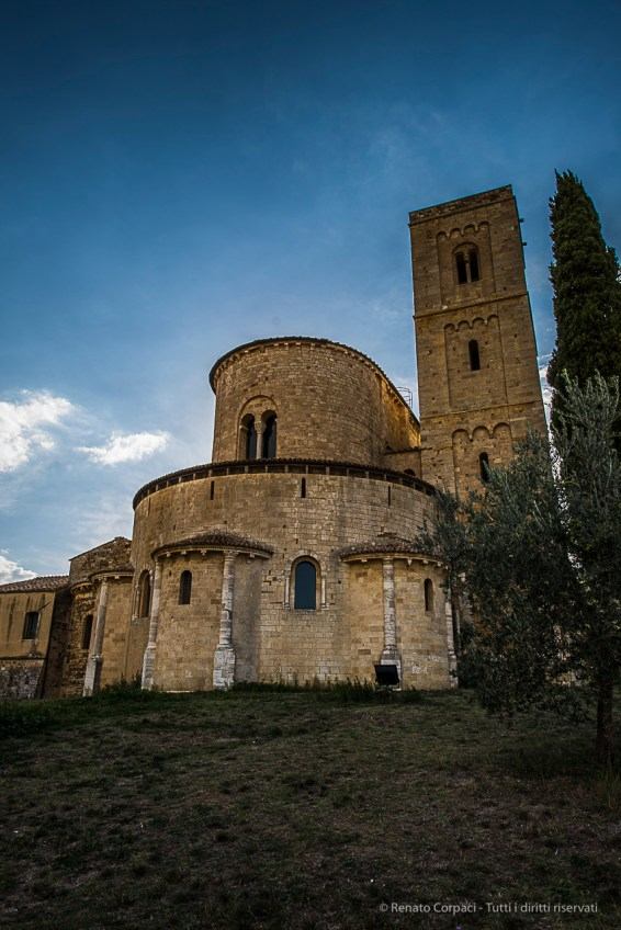 The San'Antimo abbey at Castelnuovo dell'Abate, in the Montalcino area. Nikon D810, 24mm (24.0mm ƒ/1.4) 1/200 ƒ/7.1 ISO 64
