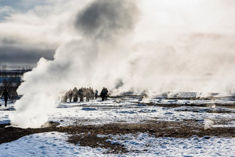 """Geysir geothermal area in Haukadalur is where you can see geysers, hot springs, steam vents and eerie blue algae. Strokkur is one of the largest and most powerful geysers and erupts almost every 5 minutes. Nikon D810, 85 mm (85.0 mm ƒ/1.4) 1/400"""" ƒ/8 ISO 64"""