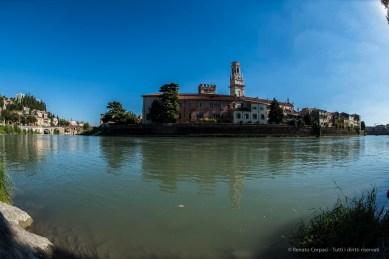 "The Duomo Belfry from across the river Adige. Nikon D810, 16 mm (16.0 mm ƒ/2.8) 1/200"" ƒ/10 ISO 100"