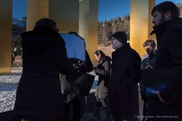 "Bernd Franke, composer, following the unveiling of ""The Sky Over Nine Columns"" by Heinz Mack. Sankt Moritz, December 10th 2016. Nikon D810, 24 mm (20.0 mm ƒ/1.8) 1/100"" ƒ/5.0 ISO 64"