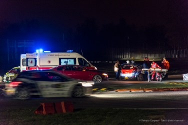 "Aftermath of the accident at the first chicane at the Monster Energy Monza Rally Show 2016. Nikon D810, 120 mm (24-120.0 mm ƒ/4) 1/50"" ƒ/4 ISO 3200"