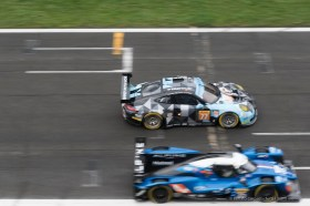 """Pierre Ragues' Alpine A470-Gibson takes over Christian Ried's Porsche 911 RSR (991) in the Tribune straight stretch. Nikon D810, 120 mm (24-120.0 mm ƒ/4.0) 1/250"""" ƒ/6.3 ISO 800"""