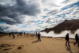 The Namafjall geothermal field is located on the east side of Lake Myvatn. Also known as Hverir, it includes solfataras and boiling mud pots, surrounded by sulfur crystals of many different colours. Nikon D810, 24 mm (24-120.0 mm ƒ/4) 1/500 sec ƒ/8 ISO 64