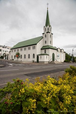 Frikirkjan (Free Church), on the Tjörnin (Pond) in Reykjavik. Nikon D810, 28.0mm (24-120.0mm ƒ/4.0) 1/250 sec ƒ/8 ISO 400