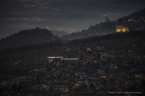 """Twilight view toward Sondrio, Valtellina. Nikon D810, 340 mm (80-400,0 mm ƒ/4.5-5.6) 3"""" ƒ/5.6 ISO 64"""