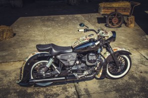 Moto Guzzi V9 Bobber Custom, 'Vecchio Conio' by Rustom [Right-side angle down]